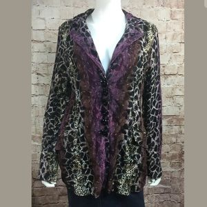 Alberto Makali Large Purple Blazer Jacket Animal